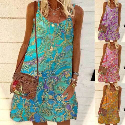 Summer Women Round Neck Casual Floral Suspender Dress Loose Beach Short Sundress Clothing, Shoes & Accessories
