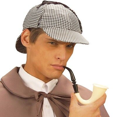 Sherlock Holmes HUT DEERSTALKER MIT PFEIFE Detektiv Kostüm Zubehör - Sherlock Holmes Hut Kostüm