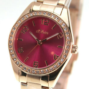 S.Oliver Damen Armbanduhr rosegold SO-3055-MQ - NEU - pink - 10244