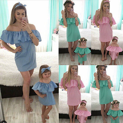 Family Dresses Mother and Daughter Party Girl Dress Off Shoulder Summer US Stock (Family Dresses)