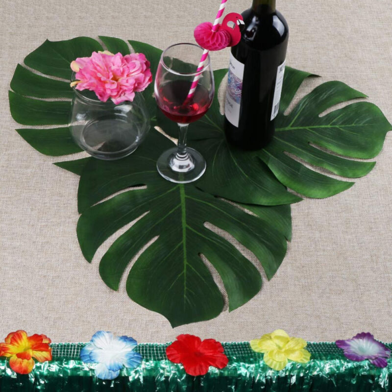 Leaves Decoration: 35x29cm Artificial Leaf Tropical Palm Leaves For Hawaiian