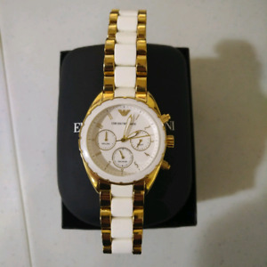 Emporio Armani Watch Unisex White and Gold
