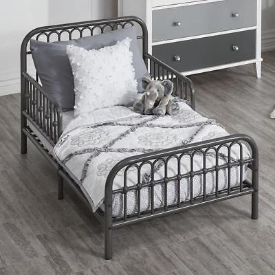 Toddler Bed Frame Rail Sides Girl Boy Vintage Metal Child Bedroom Kids Gray NEW