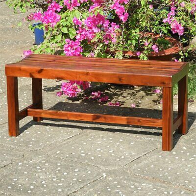 "Highland Acacia 42"" Backless Garden Bench"