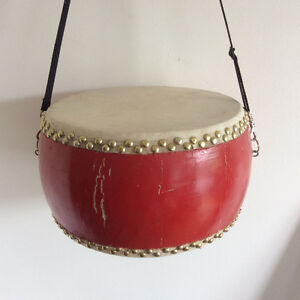 Large Two-sided Bongo Drum with Neck Strap