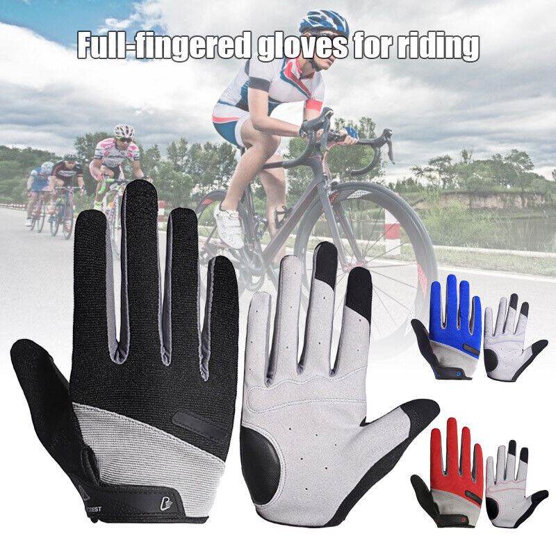 Breathable Full Finger Bike Gloves Touch Screen Cycling Road Mountain Gloves US Cycling