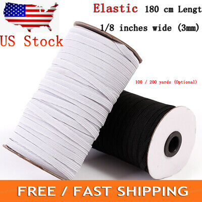 "Elastic 1/8""width ~ 3mm Braided Elastic Band Cord Knit Band Sewing 100/200Yards"