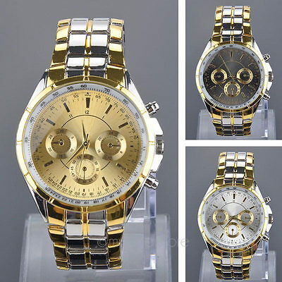 $5.94 - Luxury Fashion Mens Stainless Steel Business Analog Quartz Wrist Watch