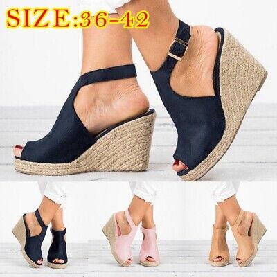Women High Wedge Heels Sandals Peep-Toe Hollow Out Buckle Flat Platform Shoes P/ - Peep Toe Buckle Sandals