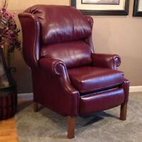 Leather Recliner, Burgundy Wingback