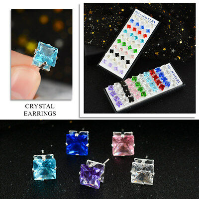 20 Cubic Zirconia Crystals - 20Pairs/Set  Lots Crystal Rhinestone Cubic Zirconia Earrings Women Stud Jewelry