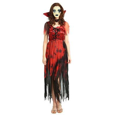 Vampire Damen Halloween Blutig Gothic Kostüm Frauen Horror Zombie Kostüm Gr.S-M