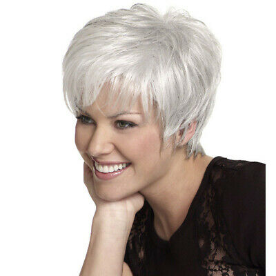 Fashion Short Silver White Synthetic Wigs For Women Short Pixie Hair Wavy Wigs - White Short Wig