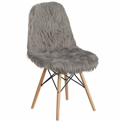 Flash Furniture Shaggy Dog Accent Chair In Charcoal Gray ()