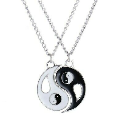 Friendship Forever Ying Yang Best Friend BFF Necklace Women Men Unisex 2 Pcs