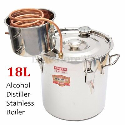 5Gal /18L Moonshine Ethanol Alcohol Water Distiller Still Stainless Boiler DIY