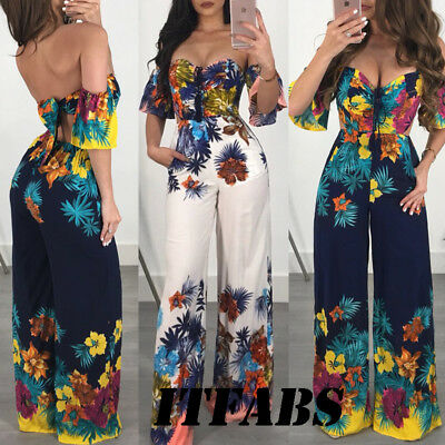 US Women Off Shoulder Clubwear Playsuit Casual Short Sleeve Party Jumpsuit&Rompe