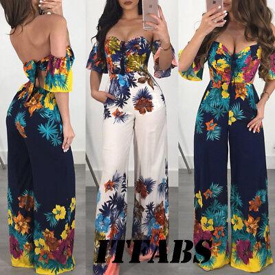 US Women Off Shoulder Clubwear Playsuit Casual Short Sleeve Party Jumpsuit&Rompe