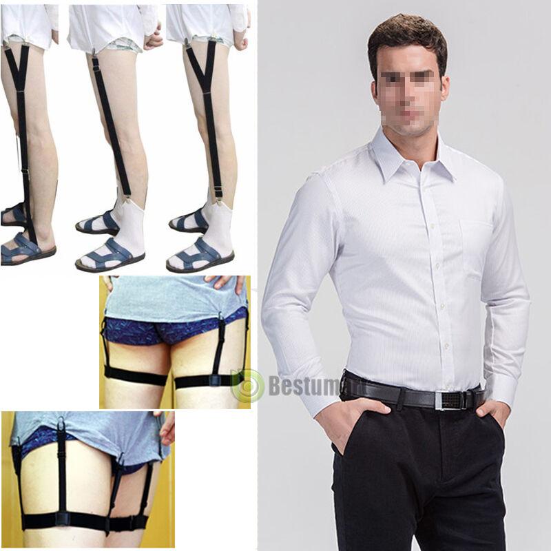 1/2 Pair Mens Stays Holders Elastic Shirt Garter Non-slip Locking Clamps Uniform