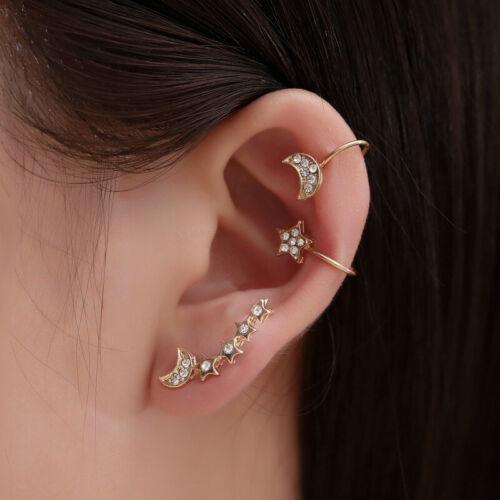 3X Women Star Moon Ear Cuff Clip On Earrings Fake Cartilage