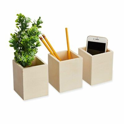 3-pack Unfinished Wooden Pen Pencil Holder For Office Desk Organization Diy