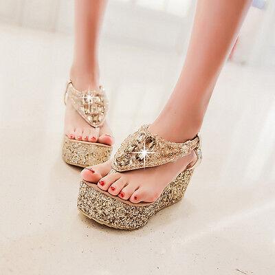 Gold Glitter Platform Sandal (Damen Platform Gold Glitter Keilabsatz Sommer Outdoorsandalen Schuhe 45 46 47)
