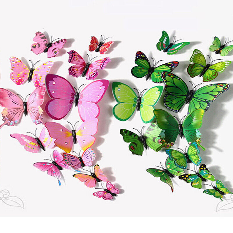 Home Decoration - 3D Magnetic Butterfly Wall Stickers Art Decals Home Decorations Room Decor 12pcs