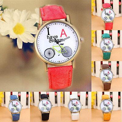 Fashion  Womens Denim Style Pu Leather Strap Watches Bicycle Pattern Watch