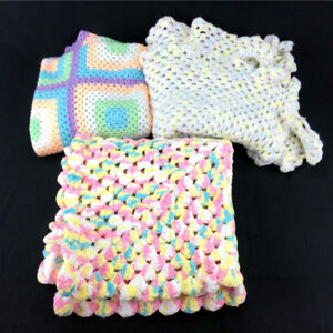 3 Handmade Baby Blankets Crocheted Soft Thick Plush Granny
