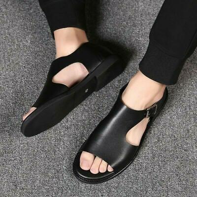 New Mens Roman Open Toe Slip On Buckle Flat Heel Gladiator Beach Sandals Shoes - Mens Roman Gladiator Sandals