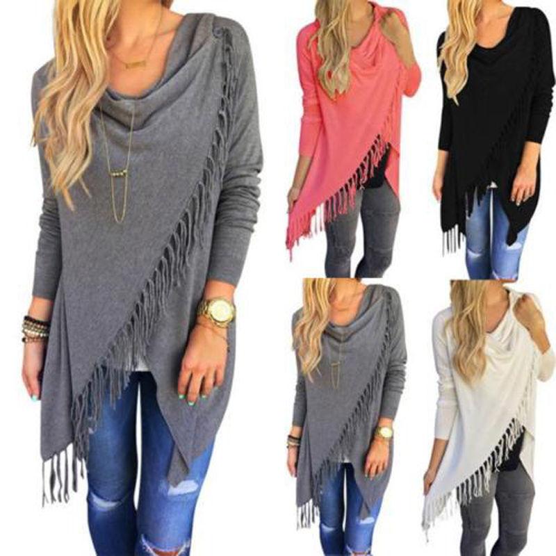 Damen Langarm Strickjacke Cardigan Pullover Sweater Longbluse Quaste Poncho Tops