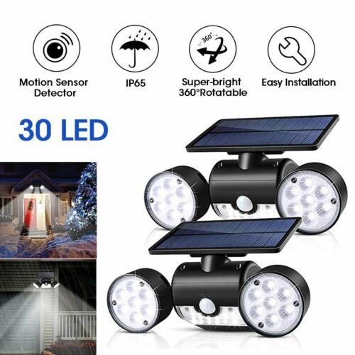 Dual Head Solar Lights Outdoor Motion Sensor Security Lights 30 LED Spotlights