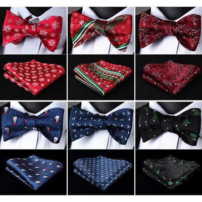 Christmas Bow Tie (Christmas Silk Jacquard Woven Mens Butterfly Self Bow Tie Handkerchief)