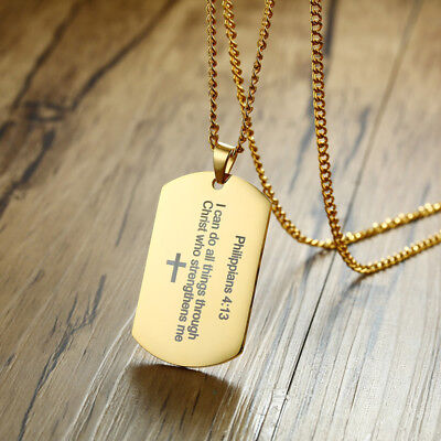 Strength Prayer (Gold Men Necklace Pendant Dog Tag Strength Bible Verse Philippians 4:13)