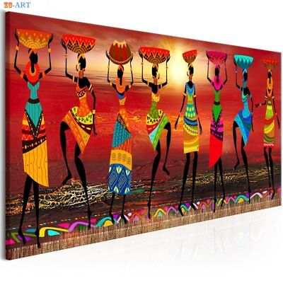 African Women Dancing Print Canvas Painting Colored Poster Tribal Wall Art