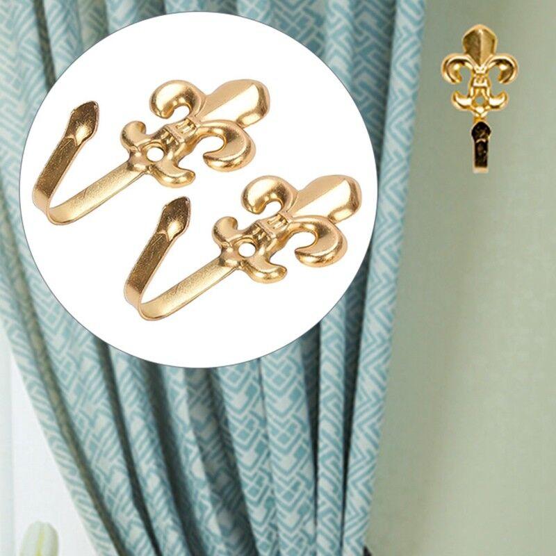 2x Flower Alloy Home Curtain Holdback Wall Tie Back Hooks Hanger #MI guo76