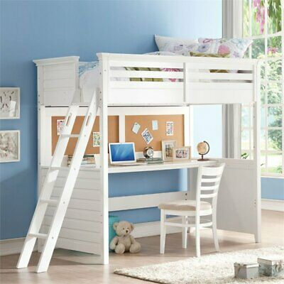 Bowery Hill Twin Loft Bed with Desk in White