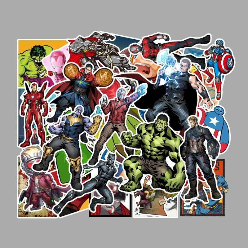 50pcs/Lot Marvel Super Heroes Vinyl Stickers for Skateboard/Luggage/Laptop/Gift Decals, Stickers & Vinyl Art