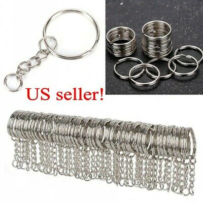 100/200Pcs DIY 25mm Polished Silver Keyring Keychain Split Short Chain Key Rings - Diy Keychain