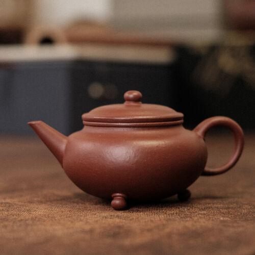 Chinese yixing old zhuni clay 3-foot shui ping teapot 120ml 老朱泥貢局款 New