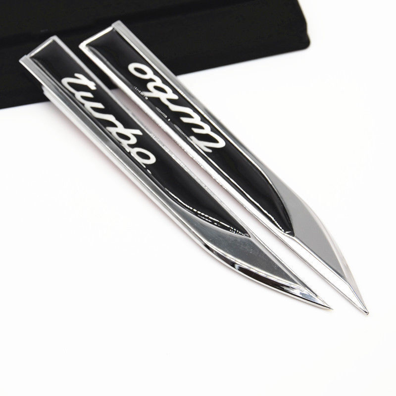 2x Metal Turbo Knife Shape Fender Badge Sticker Rear Side Wing Car Emblem Decal