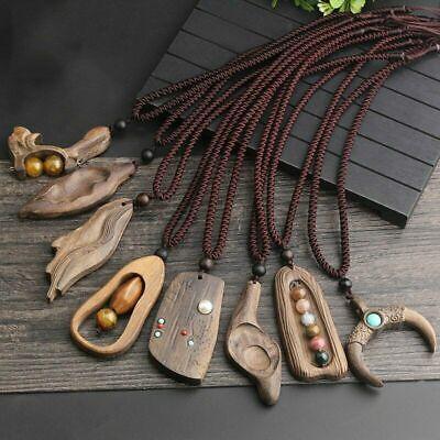 Handmade Sandalwood Natural Stone Pendant Necklace Long Adjustable Sweater Chain Handmade Stone Pendant