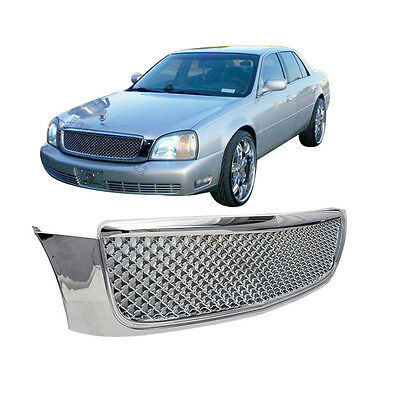 For 00-05 Cadillac Deville Diamond Mesh Style ABS Chrome Front Grille Grills