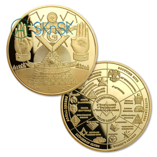 Masonic Challenge Coin Grand Lodges Freemasons Brotherhood Collectible Badge