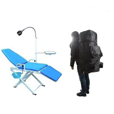 Dental Portable Mobile Chair Folding Chair With Led Cold Light Black Backpack