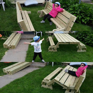 Customized kids Pull out Bench Picnic Table