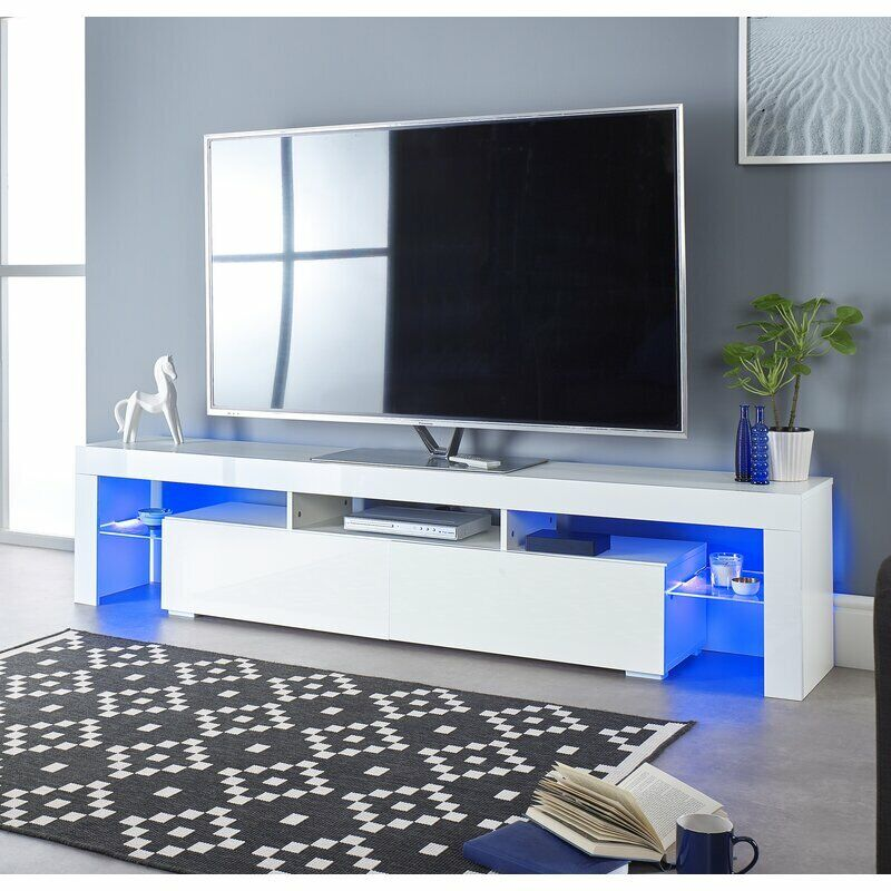 """70"""" High Gloss TV Unit Cabinet Stand w/LED Light Shelves Drawers Home Furniture"""