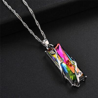 Mystic Topaz Necklace - Handmade Rainbow Mystical Fire Topaz Fashion 925 Sterling Silver 1.5