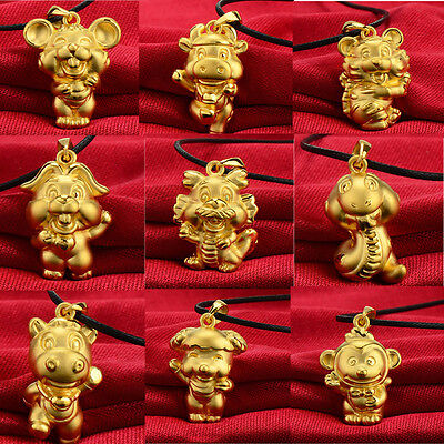 Amazing 3D Gold Plated Chinese 12 Zodiac Pendant Necklace Birthday Gift
