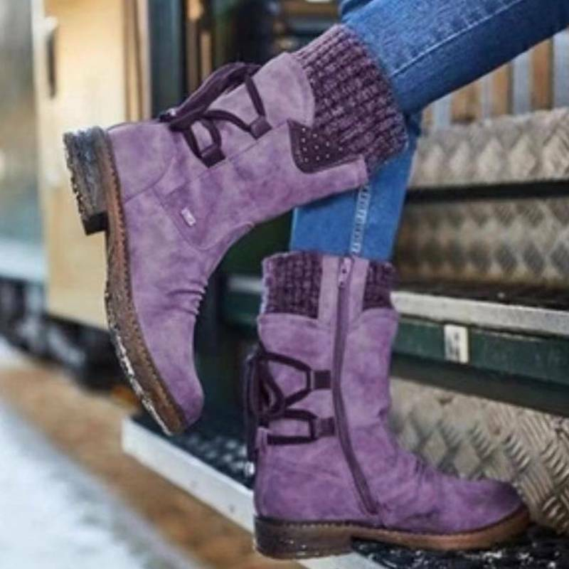 Womens Fleece Boots Lace Up Warm Round Shoes